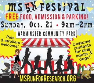 4TH REGIONAL MS 5K RUN/WALK & FAMILY FESTIVAL in Warminster Community Park